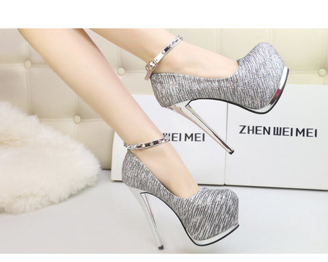YEERFA High heels sexy pumps silver wedding shoes women gold heels platform shoes studded heels evening party shoes women heels