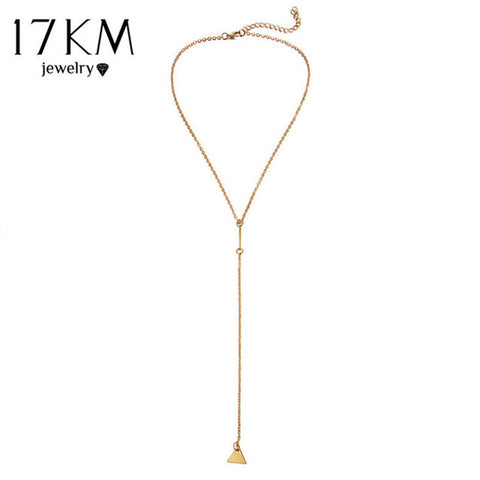 17KM Beer Cup Long Pendant Necklace For Women Wine Bottle Gold Silver Color Triangle Statement Necklace Party Fashion Jewelry