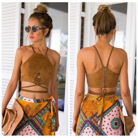 Women Faux Suede Halter Cross Hollow Boho Bohemian Bandage Camis Women's Sexy Bustier Bralet Cropped Top Vest Camis 2018 New