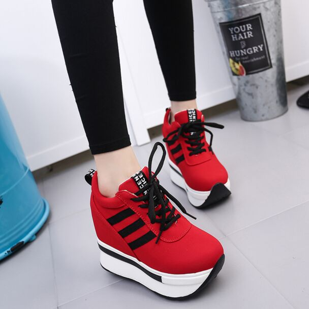 Women Height Increasing Elevator Shoes 12cm Ultra High Heels 2017 Casual Hidden Wedge Shoes Woman Platform Wedges Zapatos Mujer