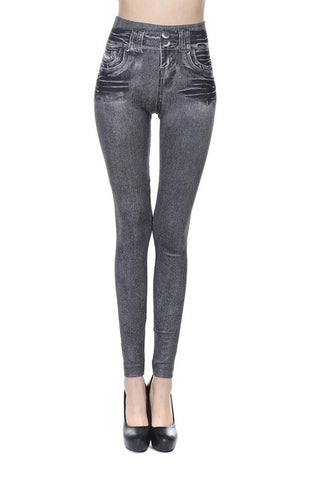 2018 Leggings Denim Pants with Really Pocket Slim Jeans for Women Fitness Plus Size Leggings XXL Black/Gray/Blue winter leggins