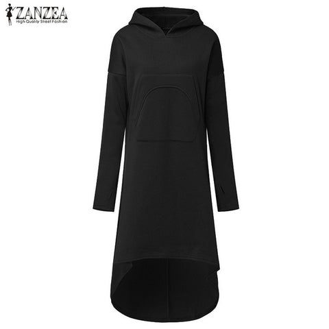 Women Hooded Long Sleeve Fleece Hoodies Casual Winter Irregular hem
