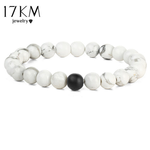 17KM Fashion 2 Color Distance Men Bracelet Jewelry For Men Women Fashion Stone Beads Yoga Fitness Fashion Energy Yoga Bracelets