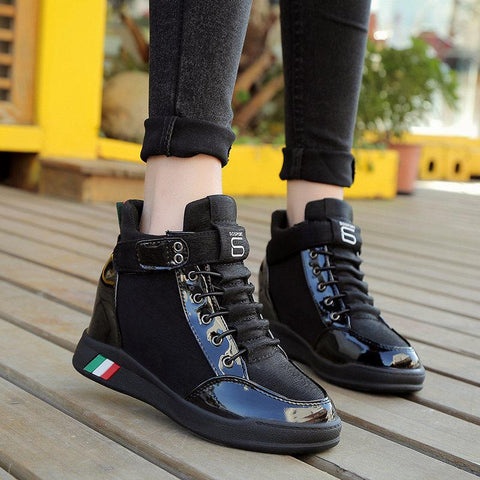 Brand Spring Autumn White Black Platform Sneakers 2018 New Fashion Korean Wedge Casual Women Shoes Winter Sneakers Basket Femme