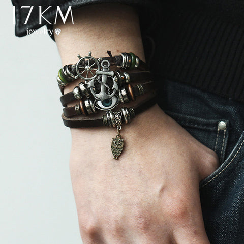 17KM Vintage Multiple Layer Turkish Eye Charms Bracelet For Men Women Fashion Leather Bracelets Wristband Braid Bangles Gift