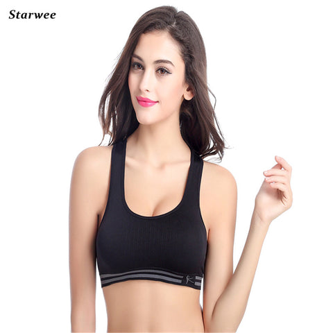 Starwee Casual Tank Top Women Breathable Stretch Fitness Halter Bra Crop Top Soft Seamless Padded Bra Vest 5 Colors M/L/XL D338