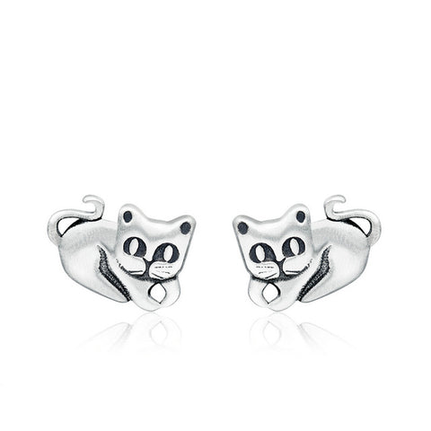 Wholesale 925 Sterling Silver Cartoon Mickey Animal Dolphin Cat Sparkling Minnie Sterling Silver Jewelry Women Stud Earrings