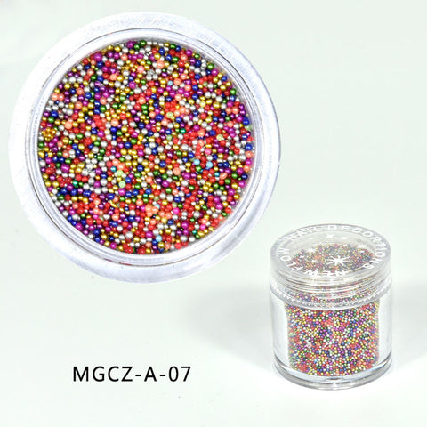 10Gram/Jar Glass Micro Beads No Hole 0.6mm -0.8mm colorful -Caviar Manicures Pedicures Beauty Micro Tiny Beads Nail Art Stickers