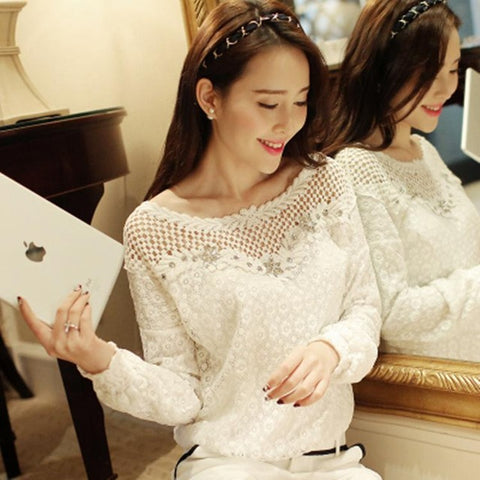 2018 Spring Autumn Women Fashion Lace Floral Patchwork Blouse Long Sleeve Shirts Hollow Out Casual Tops Plus Size XXL Pullovers