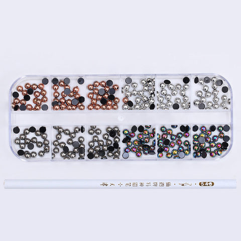 1 Box AB Color Nail Rhinestone with Dotting Pen Clear Flat Bottom Multi-size Manicure Nail Art 3D Decoration