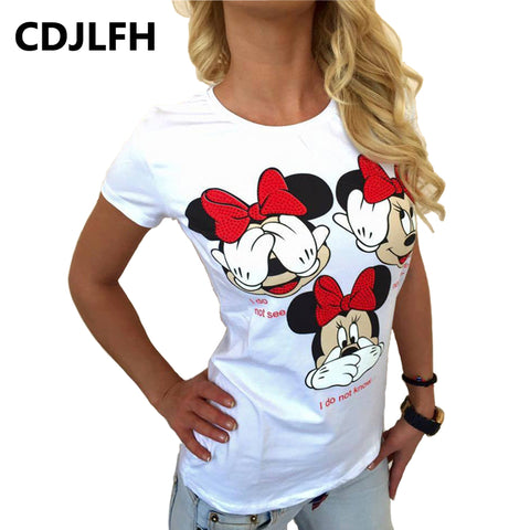 CDJLFH T-shirt Sexy Women 2017 Kawaii Cartoon Women's Tshirt Female Funny T Shirt Women Top Tee Summer Soft Clothes