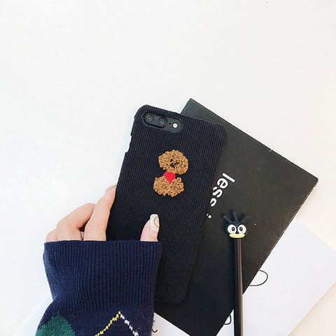 Luxury Fashion Embroidery Animal Sheep Corduroy Plush Phone Cover Cases For iPhone X 8 8plus 7 7plus 6 6s plus Girl Style
