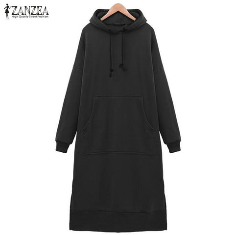 Women Spring Autumn Casual Loose Long Hoodies Sweatshirt Full Sleeve