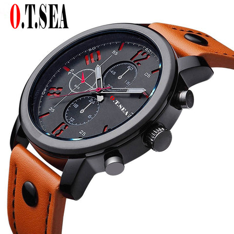 Luxury O.T.SEA Brand Leather Watches Men Military Sports Quartz Wristwatches Relogio Masculino Dropshipping 8192