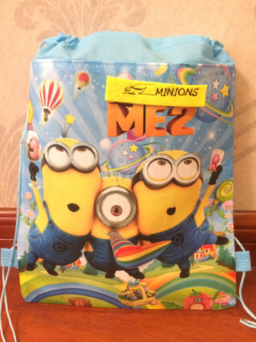 kids children minions bag tote backpack string shoe bag  for sweaty clothes  school bag for boys and girls to school runners