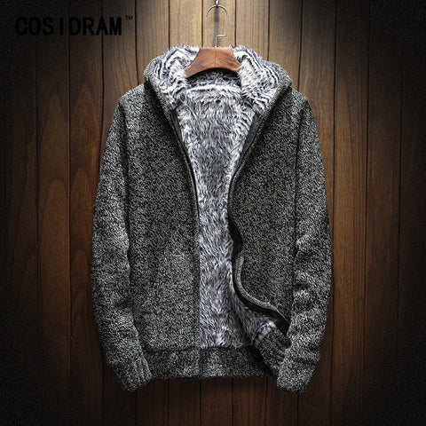COSIDRAM 2018 Winter Fashion Knitting Hoodies Warm Thick Men Sweatshirt Zip Male Hooded Fur MC-011