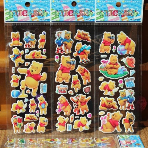 % 10 Sheets/lot 3D Cartoon winnie the pooh stickers Kids Toys Bubble stickers Teacher baby Gift Reward PVC  Christmas gift