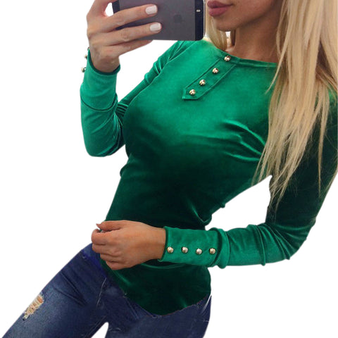 Newly 2018 Velvet Blouses Shirts Women's Spring Autumn Shirts Tops Velvet Blusas Top Long Sleeve Solid Button Women Tops GV508