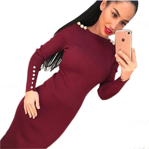 Fashion Women Sexy Bodycon Dress Autumn Winter Knitted Midi Dress Robe Solid Long Sleeve Package Hip Party Dresses Robe GV420