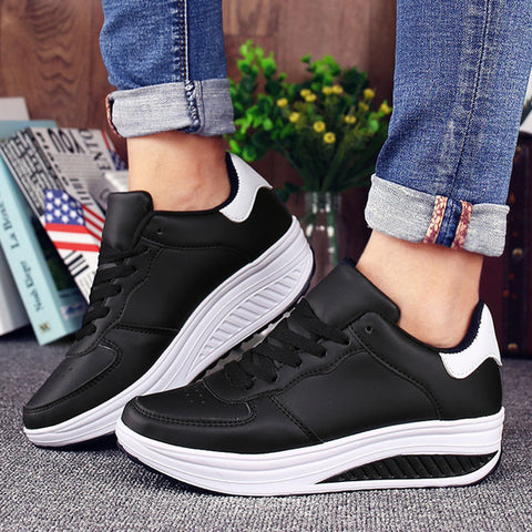 Women Sneakers White Platform Trainers Summer Wedges Casual Shoes Basket Femme Lace Up Zapatillas Deportivas Mujer