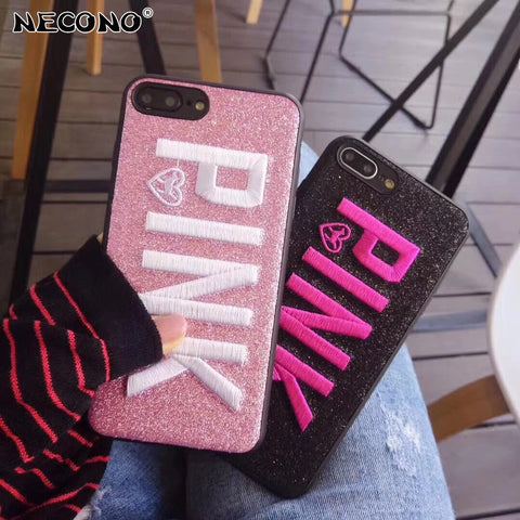 NECONO For iPhone X 8 8Plus Phone Cases Retro Embroidery Letter PINK Word Phone Back Cover Coque Fundas For iPhone 6 6s 7 Plus