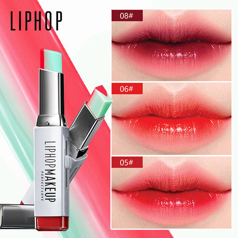 LIPHOP Brand lipstick Moisturizer beauty makeup gradient color Korean style Two color tint lip stick lasting waterproof lip balm