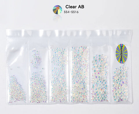 1Pack Mix SS4-SS16 Nail Rhinestones Colorful AB Crystal Glass Stones Non Hot Fix FlatBack Strass Gems Shiny Nail Art Decorations