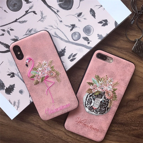 For iPhone X Case Brand New Luxury Embroidery Flamingo Tiger Head Back Cover For Apple iPhone X Case 10 iPhoneX Phone Cases Capa