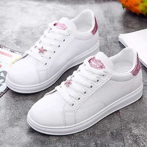 Female shoes sneakers women casual shoes cheap PU leather sewing fashion lips lace up ladies White shoes woman sneaker