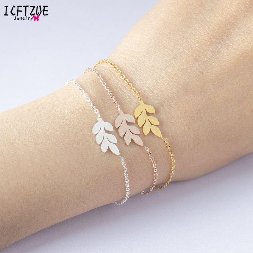ICFTZWE Body Jewelry Stainless Steel Bracelets For Women Armbanden Voor Vrouwen Silver Leaf Bracelet Bridesmaids Gift
