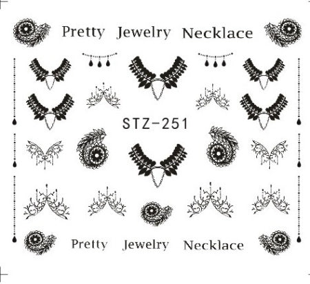 1 Sheets DIY Black Necklace  Jewelry Design Fashion Water Transfer Sticker Nail Art Decals Manicure Styling Tools STZ249-510
