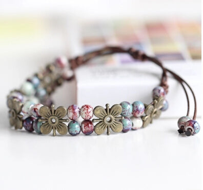 National Wind Restoring Ancient Ways Is The High Temperature Glaze Ceramic Handmade Trinkets Women's Fashion  Bracelets 1078