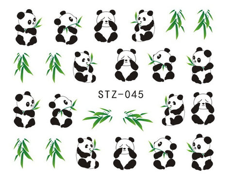 1sheets Pretty Animal Panda with Bamboo Cute Nail Stickers Water Transfer French Tips Wraps Decals nails Decorations STZ014-045