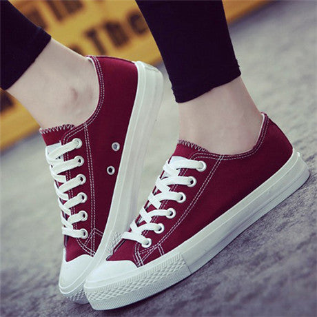 Spring Women Vulcanize Shoes Ladies Canvas Casual Shoes Flat Female Lace Up Sneakers Women Summer Shoes Leisure Footwear BT734