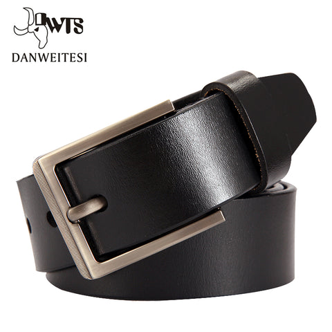 [DWTS]male men belt cow genuine leather luxury strap male belts for men new fashion classice vintage pin buckle