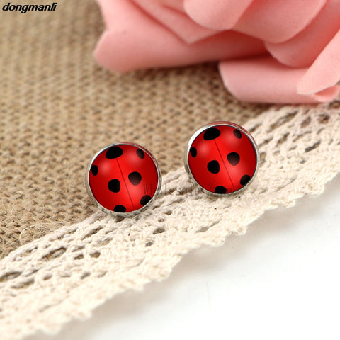 WS1688 Miraculous Ladybug Stud Earrings glass Circle Animal Earrings for Girls Cat Noir Miraculous Ladybug Anime Jewelry