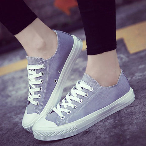 Women Vulcanize Shoes Casual Comfortable Female Footwear Summer Flat Women sneakers Canvas Shoes Lace-up Ladies Shoes HBT734
