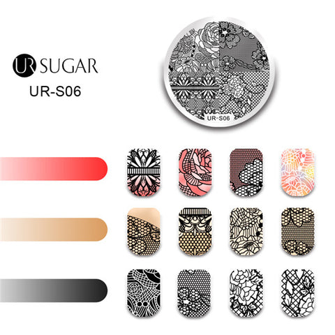 UR SUGER 1 Pc Easter Flower Animal Pattern Stamping Template Geometry Peacock Design Nail Plate Printer Nail Image Plate