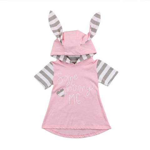 Toddler Baby Girl Short sleeve Dress Princess Rabbit Children Girl Dress Casual Hooded Kids Dresses