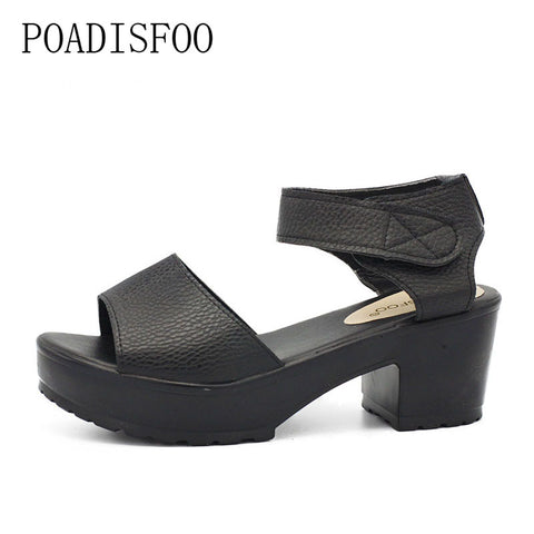 [H][C]New Summer Style Women's Plus Size Shoes Sandals Fish Head High Heels Solid Sandals Women Platforms Shoes For Lady.XL-21