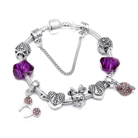 SPINNER Mickey Lover Heart DIY Charm Bracelet  Snake Chain Pandora Bracelet for Women Jewelry Gift