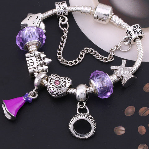 BAOPON A Variety of Design Charm Bracelet with Mickey Enamel Beads Women&Child Glass Pandora Bracelet Fit Women Jewelry