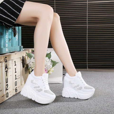 new 2017 Women Casual Platform Shoes Fashion High Heels Shoes Woman Wedges Women Shoes Loafers Heigh Increasing zapatos mujer