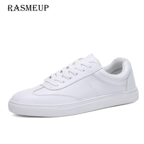 RASMEUP Genuine Leather Women's White Flat Sneakers 2018 Spring Casual Women Lace-up Platform Shoes Woman Comfortable Footwear