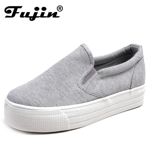 2017 Ladies platform Shoes canvas shoes Flats Slip On Solid Woman Leisure breathable Shoe Female Fashion Casual Shoes Fujin