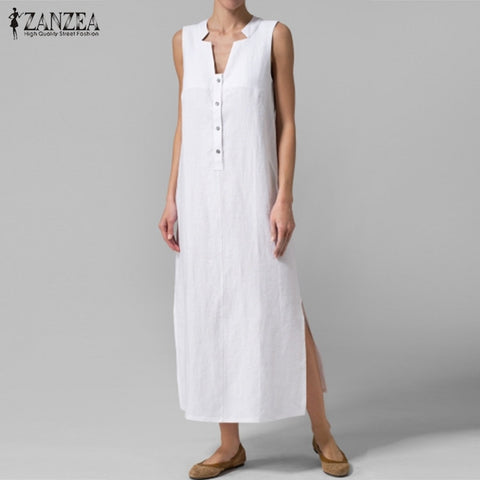 Women Dress Summer Sexy V Neck Sleeveless Maxi Long Dresses