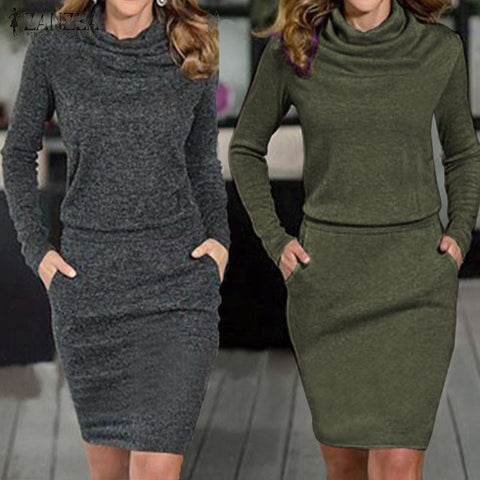 Women Dress Sexy Turtleneck Long Sleeve Pencil Party Dresses Casual Slim Solid Bodycon Vestidos