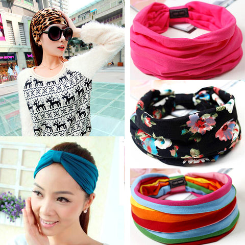 Floral Print Turban Knot Headwrap Sports Elastic yoga Hairband