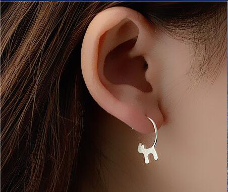 New !Fashion jewelry accessories   Silver Lovely Cat Earrings   best gift   for women girl wholesale E076