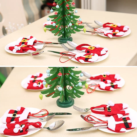 Christmas Knife and Fork Cover Table Decoration Tableware Bags Pendant
